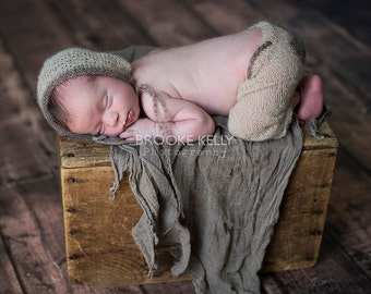 Mohair Pocket Pants and Hat Set in Beige and Toffee Brown Newborn Photography