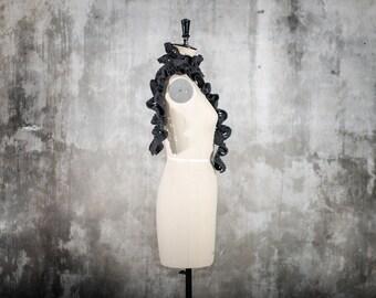 woolen scarf - hand cut pattern - long/skinny