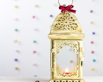 Champagne Gold Lantern Moroccan Lantern Decor Candle Holders Tealight Holder French Ivory Lantern Wedding Decor Gift for Her