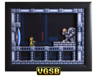 Super Metroid Art - The Chozo - SNES - Super Nintendo - 3D Shadow Box Glass Frame - 12x10 - Groomsmen Gift - Geek Gifts