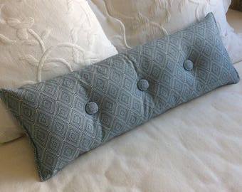 Blue woven 9x25 Bolster/lumbar pillow available in many of our fabrics