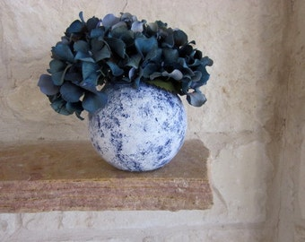Blue Vase / Country Blue and white stone vase /  handcrafted vase