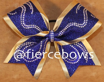 Swirly Girl Rhinestone and Glitter Competition Cheer Bow