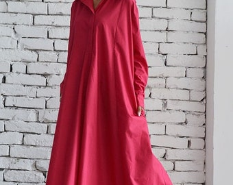 SALE Oversize Shirt Dress/Pink Maxi Dress/Long Loose Kaftan/Plus Size Maxi Dress/Long Sleeve Dress/Oversize Pink Tunic/Extravagant Casual Dr