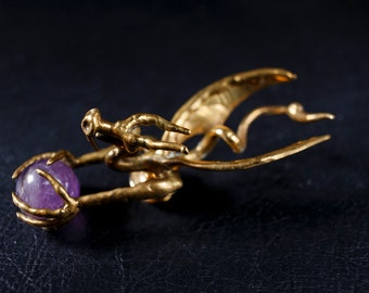 Brass and Amethyst Dragon Pin