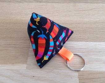 Keychain fabric berlingot, peppers - black