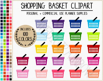 SALE 100 GROCERY BASKET clipart groceries planner stickers rainbow shopping stickers food clipart grocery list shopping bag shopping basket