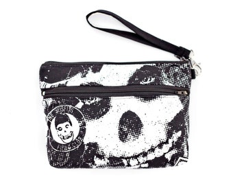 Black and White MISFITS Skull and Crossbones Wristlet with removable strap - super rare fabric - one of a kind