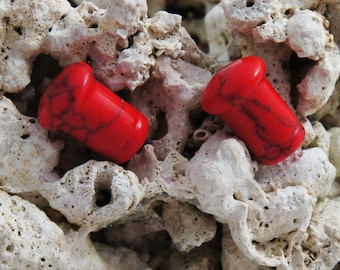 SALE Pair Red Turquoise Gemstone Single Flare Small Gauge Stone Plugs 5mm (4g) 6mm (2g) 8mm (0g)
