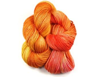 Orange You Sweet!--hand dyed sock yarn, 2ply merino and nylon, (400yds/100gm)