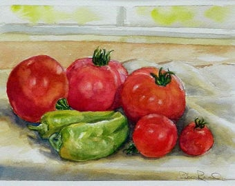Tomatoes and Peppers - original watercolor food painting, vegetable art, homegrown tomatoes