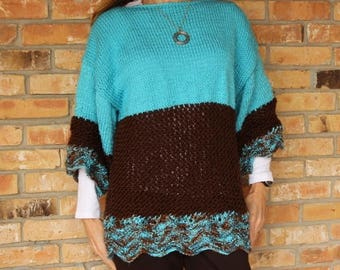Knit Sweater Pattern, Loose Fitting Knit Sweater Design, Oversized Knit Sweater Pattern with 3/4 Sleeves, Ripple and Lace Knit Sweater