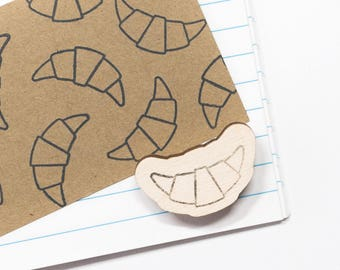 Croissant stamp, rubber stamps, french, bakery, food stamp, kitchen stamp, France, holiday, bread, french breakfast, studio maas