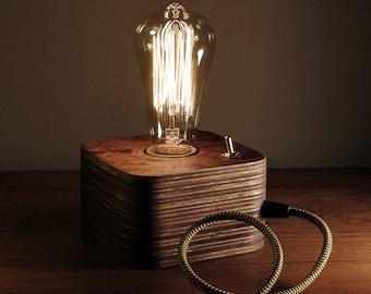 Edison Lamp,Wood Lamp,Wooden Edison Lamp,Table Lamp,Handmade Lamp,