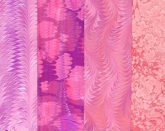 Hand Marbled Paper Set: 4 Sheets 8 x 11 (Valentine Pink)