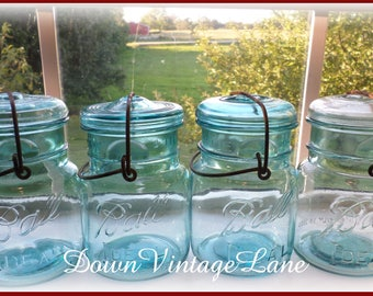 4 Blue Ball PINT Sized Jars with Wire Handles and Glass Lids