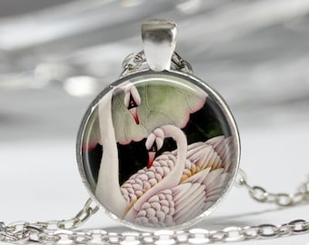 White Swan Necklace Bird Jewelry Ugly Duckling Romantic Swans Art Pendant in Bronze or Silver with Link Chain Included