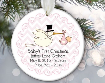 Baby's First Christmas Ornament Personalized Christmas Ornament Stork with Baby Stats Name Weight Date Length OR229