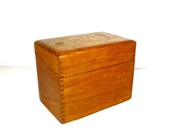 Wood Dove Tailed File Box Wooden Recipe File Box Farmhouse Kitchen Office Desk Accessory Wooden File Box