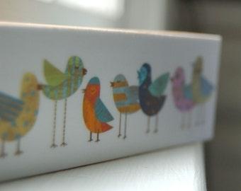 Mom Gifts, Cute Bird Artwork, Flock No. 1 Mini Whimsical Bird Art Print on Block, Bird Gift for Mom Gifts for Her