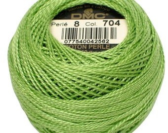 DMC 704 Pearl Cotton Thread | Size 8 | Bright Chartreuse