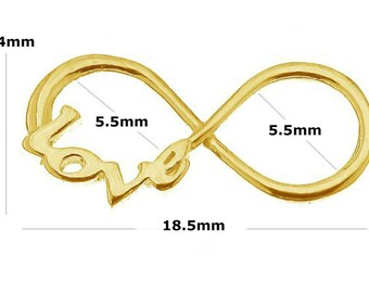 24K Gold Plated Sterling Silver 18.5mm Infinity Love Charm