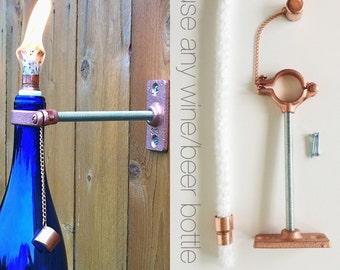 3 HARDWARE ONLY  Wine Bottle Tiki Torch kits - Mother's Day Gift - DIY Outdoor Lighting - Beer Tiki Torches  - Hanging Lantern
