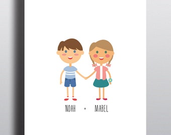 BEST FRIENDS poster (A4) with custom designed illustrations of children