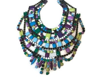 FRESH CUTS hand painted rhinestone super statement necklace