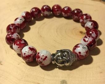 "Glass ""Cherry Blossom"" Elastic Beaded Bracelet w/ Buddha Head Charm"