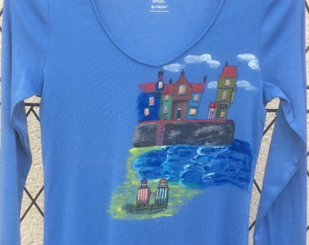 Blue t-shirt, long sleeves, size L