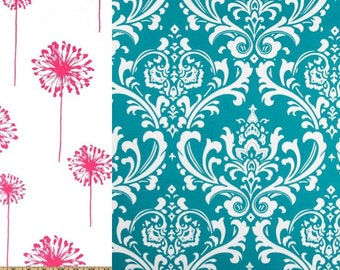 Reversible Duvet Cover Turquoise Damask and Candy Pink Dorm Twin, Twin and Full / Queen & King