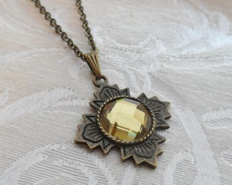 75% Off Sale Pale Yellow, Faceted Glass Necklace