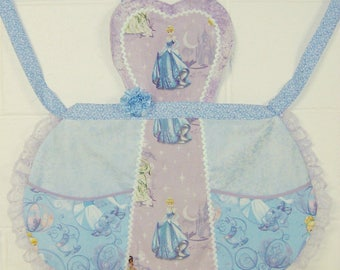 Cinderella Apron / Lavender and Blue Cinderella Apron / Girls Apron / Cinderella Birthday Party /  Girls gift  Size 5/6 / #B85