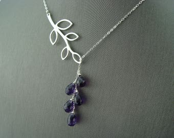 African Amethyst Cascade Leaf Branch Lariat 925 Sterling Silver Necklace
