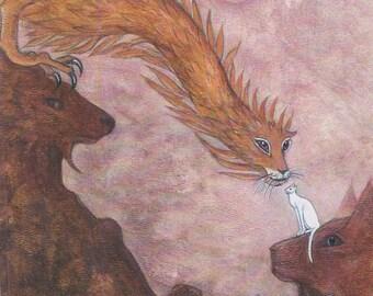 Cat and Dragon, new cat art print