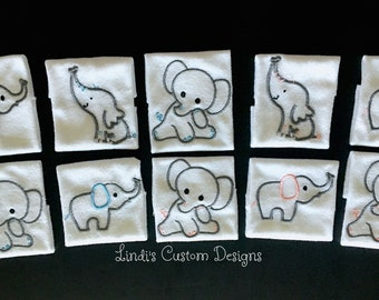 Fraternal Twins Baby Gift, Embroidered Washcloth Elephant Gift Set in Pink and Blue, Gender Reveal Baby Gift, Pink Blue Gender Reveal Set