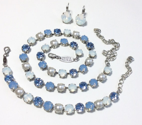 Swarovski Crystal 8.5mm Necklace & Bracelet - Blue Ombre With Creamy Pearl Accents - Feminine  Charm -Designer Inspired  - FREE SHIPPING