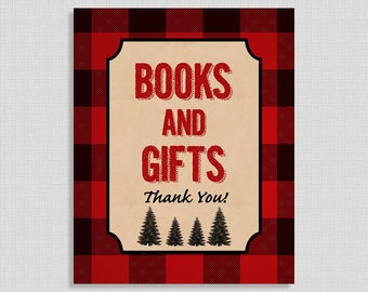 Lumberjack Books and Gifts Sign, Red Flannel Shower Sign, Baby Shower Sign,  INSTANT PRINTABLE