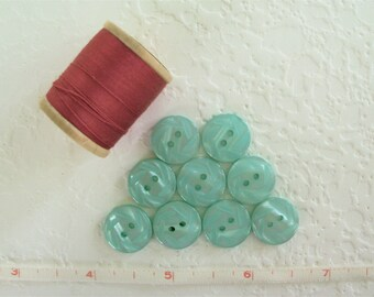 Vintage Turquoise Pearly Plastic Buttons - Set of 9