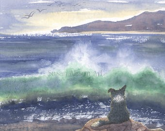 Border Collie dog 8x10 Susan Alison art print frm watercolor painting sheepdog golden sands gazing at the sea seascape breaking wave scene