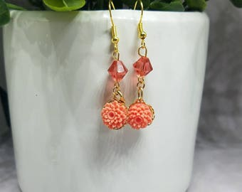 Vintage peach flower drop earrings with crystal accents on gold plated ear wires