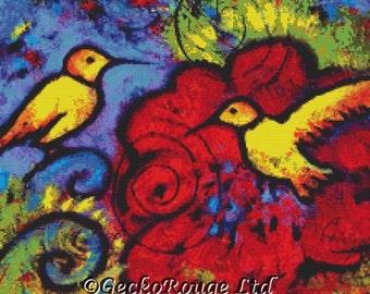 Modern Cross Stitch,  By Lindy Gaskill 'Two Yellow Hummingbirds' , Whimsical Cross Stitch Kit, Counted Stitching Set