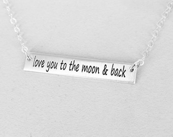 love you to the moon & back bar necklace - Layering necklace - Sterling Silver, Gold-filled or Rose Gold-filled option - WM120