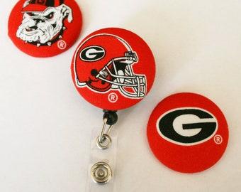Votre équipe Favorite couvert de boutons Badge rétractable bobines ID titulaires Georgia Bulldogs