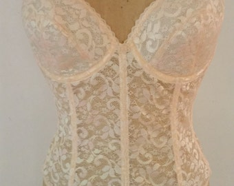 1980's 38 C Long Line Bra Padded Cups Under Wire Peach Nylon Floral Design Union Made by Carnival NOS Burlesque Lingerie
