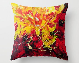 Red Pillow, Yellow Pillow, Art Pillow, Abstract Pillow Covers Decorative Throw Pillows Accent Pillows Couch Pillows, Cushions, 18x18 24x24