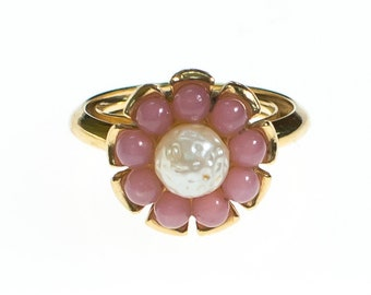 Vintage Avon Pink and Pearl Flower Statement Ring