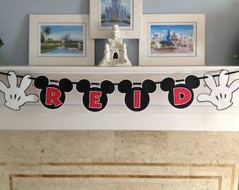 Mickey Mouse Gloves NAME Birthday Disney Banner