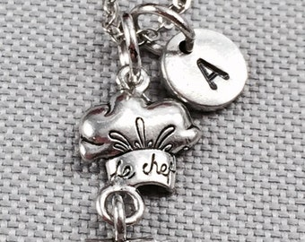 Chef hat necklace, chef necklace, hat necklace, chef hat charm, personalized necklace, initial necklace, chef jewelry
